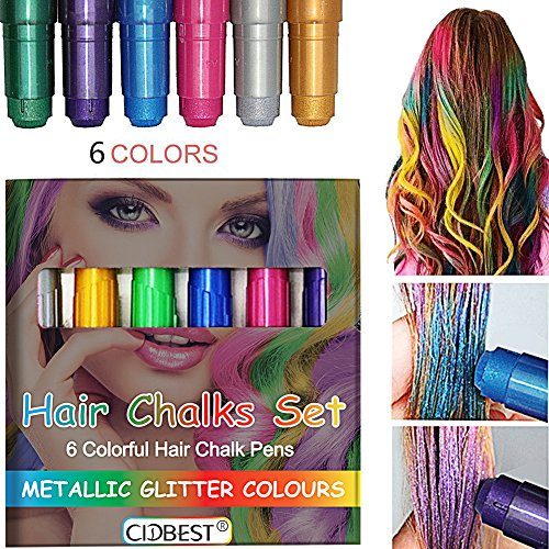 che Glitter Temporäre Haarkreide, CIDBEST® 6 Farben Tragbare Hair Chalk Set, Halloween Sexy Haarkreide, Metallic Glitter Temporary Hair Color,Edge Blendable Chalkers, Haarfarbe dauert bis zu 2-3 Tage, Arbeiten auf allen Arten der Haarfarbe für Kinder und Teenager Karneval, Halloween, Partys etc. (Halloween Haar-color-spray)