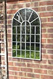Large Off White Rustic Arch Garden Wall Mirror 2Ft7 X 1Ft8 (79cm X 51cm)