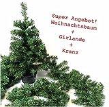 Künstlicher CHRISTBAUM Weihnachtsbaum Topf Tannengirlande Kranz künstlich ü2ü 12