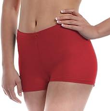 The Blazze Women's Seamless Spandex Boyshort Underskirt Pant Short Leggings (XXL, Red)