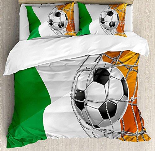 Irish 3-teiliges Bettwäscheset, Fußball mit Sportmotiven in einem Netzspielziel mit Sieg der irischen Nationalflagge, Bettwäscheset Tagesdecke für Kinder / Jugendliche / Erwachsene / Kinder, mehrfarb -