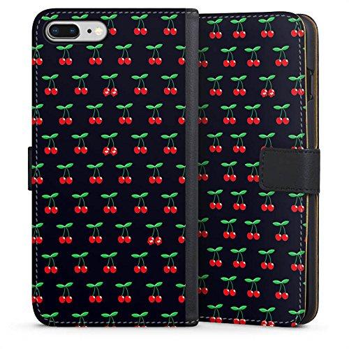 DeinDesign Tasche kompatibel mit Apple iPhone 8 Plus Leder Flip Case Ledertasche Cherry Kirschen Pattern -