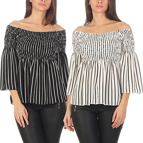 Fashion4Young - Chemisier - Manches Longues - Femme noir/blanc