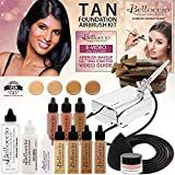 Belloccio Professional Beauty Deluxe Airbrush Cosmetic Makeup System with 4 Tan Shades of Foundation in 1/2 oz Bottles - Kit includes Blush