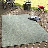 Paco Home In- & Outdoor Flachgewebe Teppich Terrassen Teppiche Mit Farbverlauf Türkis Beige, Grösse:160x220 cm