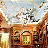 Tsqqst Fototapete 3D 3D Nahtlose Große Wandgemälde Europäischen Stil Ölgemälde Decke Lampe Pool, Religiöse Decke Wandmalerei Tapete Angel Tapete