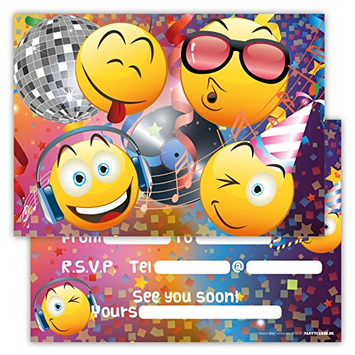 funny-birthday-invitations-pack-of-12-cards-for-boys-girls-kids-birthday-disco-party-with-smiley-emo