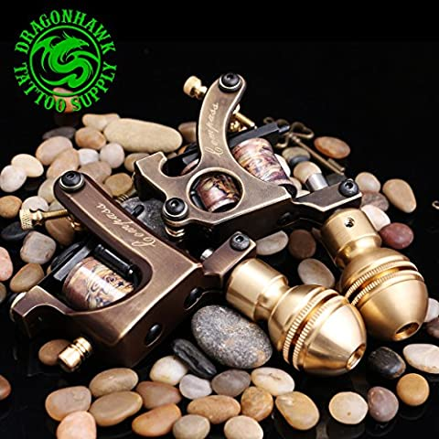 Dragonhawk 2 Brass Tattoo Machine Straight Shader Circle Liner with 2 Grips WQ3028+WQ3029