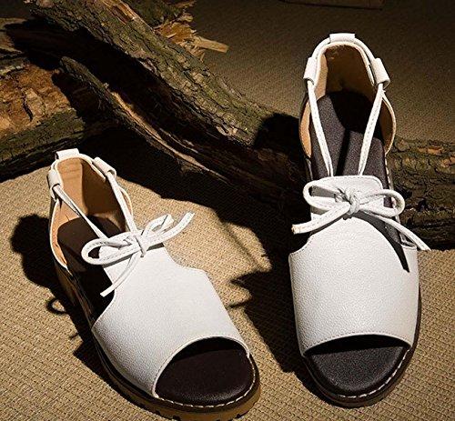 NobS Donne tacco peep toe Large Size 40-45 Taglie donne romane dei sandali stringati Flats Zoccoli White