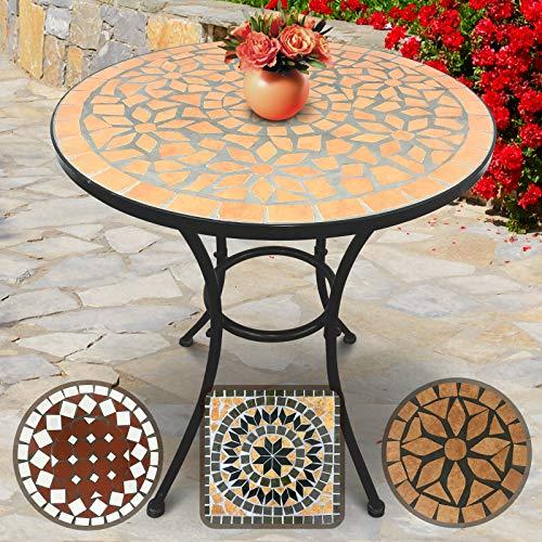 Jago Mosaiktisch Rund Ø60cm | 70cm Hoch, in Terracotta-Schwarz, Massiv und Stabil | Farb- und Designwahl | Mosaik Beistelltisch, Garten-Tisch, Balkontisch