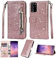EnjoyCase Wallet Case for Galaxy S20 FE,Zipper Card Pockets Design Bright Sparkle Glitter Wrist Strap Bookstyl