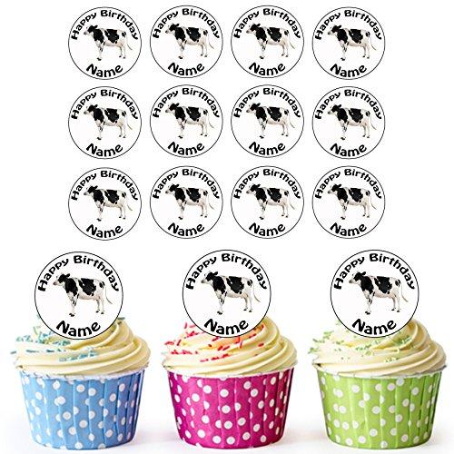 (Farm Kuh 24Personalisierte Essbare Cupcake Topper/Geburtstag Kuchen Dekorationen–Einfache vorgeschnittenen Kreise)