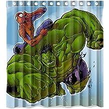 Custom Hulk and Spiderman Waterproof Polyester Fabric Bathroom Shower Curtain Standard Size 66(w)x72(h)
