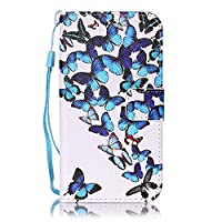 Galaxy S6 Edge Case Leather [Free USB Charging Cable], ESSTORE-EU Cartoon Pattern PU Leather Stand Function with Card Slot Holder Wallet Book Design Case for Samsung Galaxy S6 Edge, Flocks of Butterflies