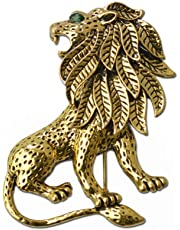 13707f18884 Imported Vintage Unisex Alloy Lion Brooch Pin Gold Plated for Suit Clothing
