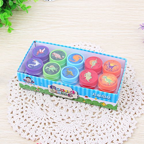 Ocamo 10pcs Kids Cartoon Animal Dinosaur Stamp Children Plastic Self Inking Stampers Toys for Kids Dinosaur World Box Pack