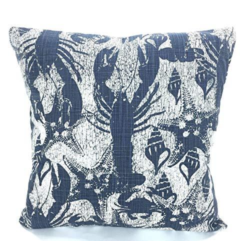 Denim Dekorative Kissen (ZonaloDutt Nautische Kissenbez¨¹ge Navy White Dekorative Kissen Kissen Dekokissen Cello Blue Faded Denim Lobster Slub Canvas Couch)