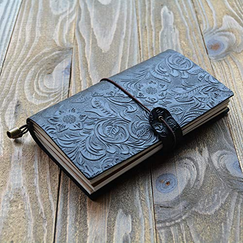 Taccuino tascabile, ricaricabile in pelle vintage Travel retro carving diario notebook portatile 17 * 10 cm Nero