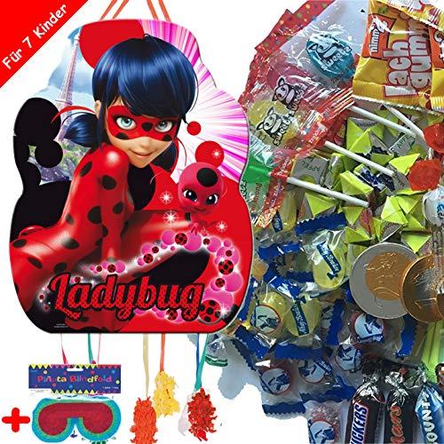Pinata-Set * Miraculous Ladybug * mit XXL-Piñata + Maske + 100-teiliges Süßigkeiten-Füllung No.1 von Carpeta | Spanische Zugpinata für bis zu 7 Kinder | Tolles Spiel zum Kindergeburtstag (Masse In Superhelden-masken Der)