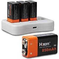 Hixon 9V Batterie Li-ION Rechargeable 850mAh et Chargeur pour Système D'alarme Multimètre Détecteur de Fumée Microphones Appareils Photo Numériques (K007 * 4 + Q019 * 1)