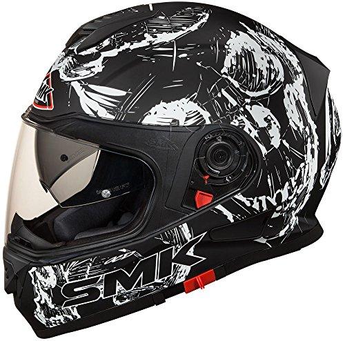 SMK Helmets Twister Full Face Skull Graphic Black And White Helmet (Large)