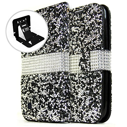 LG K10Wallet Case, REDShield Faux Saffiano Leder Front Flip Cover mit Integrierter Kartenfächer, Magnetverschluss, Black Sparkling Gem Sparkling Shield