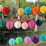 Veewon 12 Gemischte Größe Seidenpapier Pom Poms Wabenbälle für Hochzeit Geburtstags Party Dusche Hauptdekoration - zufällige Farbe