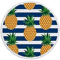 ED-Lumos Toalla de playa Manta para Playa o Picnic Microfibra Poliéster Gigante 150cm x 150cm Forma piña con raya Color Blanco azul y amarillo