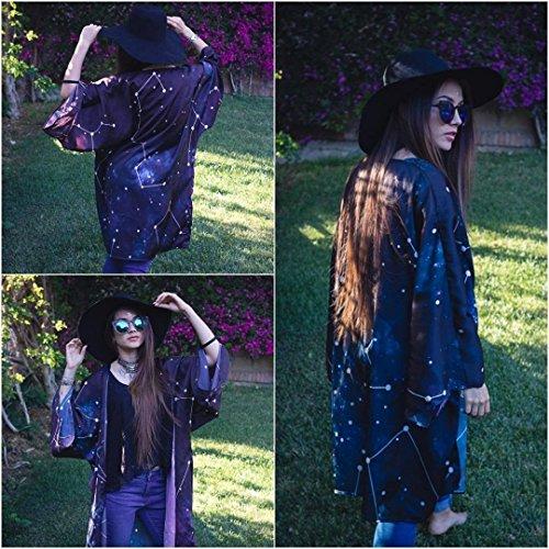 Kimono mujer corto chaqueta negro abierto boho cardigan