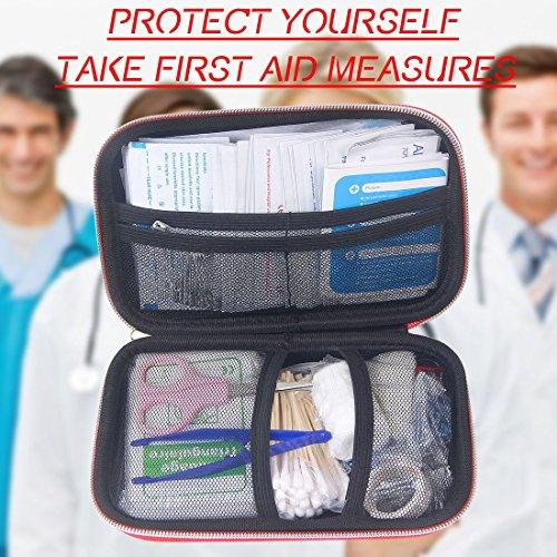 MOKIU 180 artículos Botiquín de Primeros Auxilios Survival Tools Mini Box Kit Supervivencia Para el Coche  Hogar  Camping  Caza  Viajes  Aire Libre o Deportes  Pequeño Y Compacto