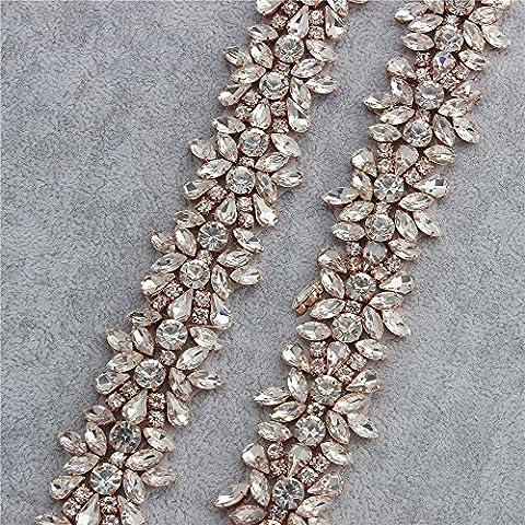 Appliqués à la strass Applique par la cour avec des cristaux étonnants pour des robes de mariée ou des robes (Rose Gold)