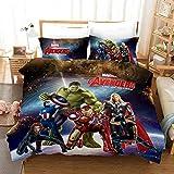 GD-SJK Parure de lit 3 pièces Avengers 3D - Parure de lit Enfant - Housse de Couette...