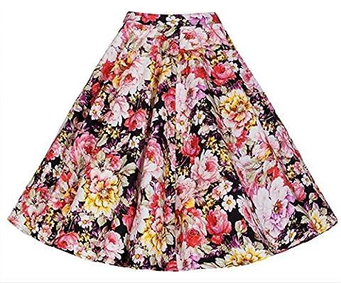 iHaipi - Rétro Jupe de Bal/Soirée Femme Vintage Raffiné Rockabilly Petticoat Pique-nique (01. Small, 08. Roses Fleurs )