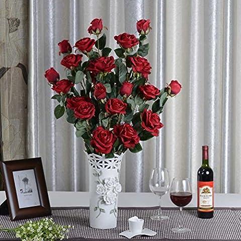 fiori artificiali 1x Rosa artificiali per la decorazione domestica senza vaso & Basket, 1bunch di fiore, rosso