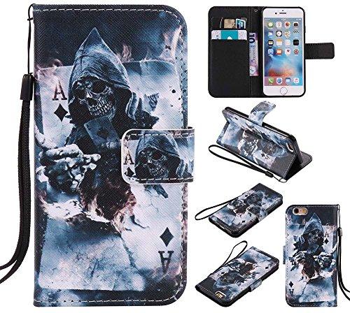 C-Super Mall-UK Apple iPhone 6 / 6s hülle, Qualität PU-Leder Brieftasche Stehen Flip hülle für Apple iPhone 6 / 6s Magician