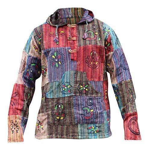 Shopoholic Moda Slavato Righe Patchwork Hippy Cappuccio Nonno Camicia - Multicolore, Multi, Small