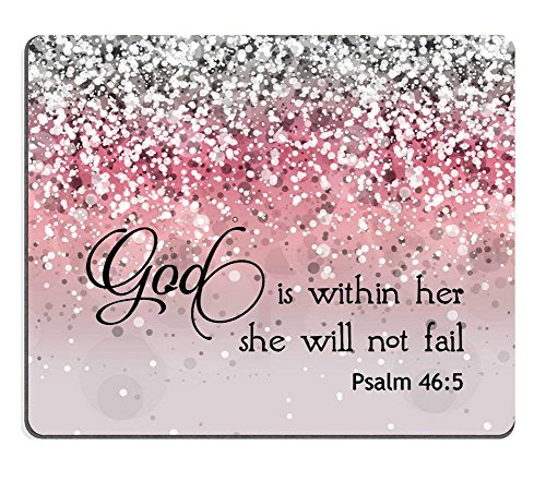 e Will Not Fall- Bible Verse Pink Sparkles Glitter Pattern Mouse Pad Mousepads ()