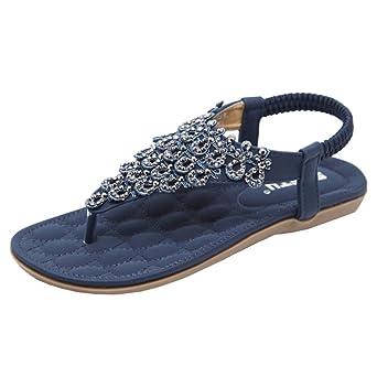 Zehentrenner Pantoletten Riemchensandalen,Damen Flache Schuhe Bead Bohemia Lady Slipper Sandalen Peep-Toe Outdoor Schuhe (36, Blue)