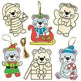 Holzanhänger Weihnachts-Teddybär für Kinder als Weihnachtliche Bastel- und Deko-Idee für Jungen und Mädchen (10 Stück)