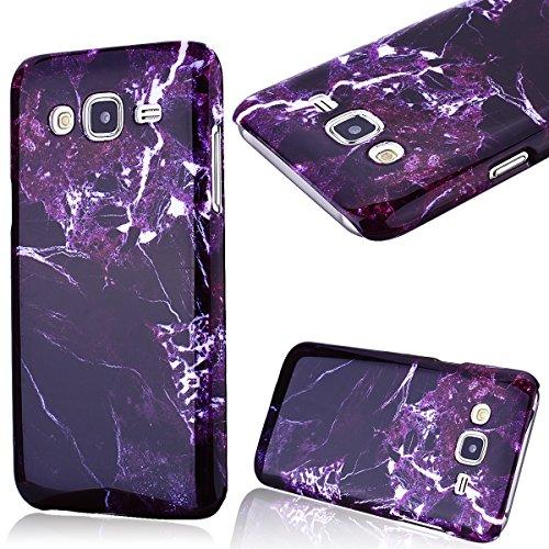 GrandEver Hard Case per Samsung Galaxy J5(2015), Design Marmo Modello Rigida PC Caso Custodia, Ultra Sottile Dura Protettiva Anti-urto Durable Cover - Viola Scuro