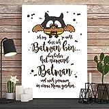Print / Illustration von Wandtattoo-Loft® Batman Eule mit Spruch