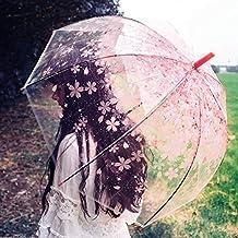Cúpula de paraguas Transparente Paraguas romántico portátil Sakura Pintura Automático Apertura Transparente Paraguas Largo Mango para Mujeres Viaje compacto paraguas automático abierto