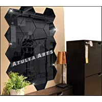 Atulya Arts - 3D Hexagon Acrylic Stickers (Pack of 20), Acrylic Mirror Wall Stickers for Home & Offices(Black)