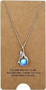 Wristchie - Collana da donna in argento Sterling 925 con perle di cristallo e ciondolo a forma di sirena, 45 + 5 cm