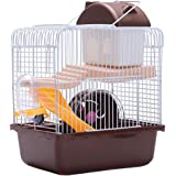 VOSAREA Hamster Cage Gerbil Haven Habitat Small Animal Cage Includes Play Slide Exercise Wheel Hamster Hide- Out Water Bottle