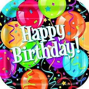 Buon compleanno - piatti di partito, quadrato, durante pallone 8 Pack, 22 centimetri