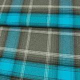 Stoffe Werning Flanell Baumwolle Karo türkis grau