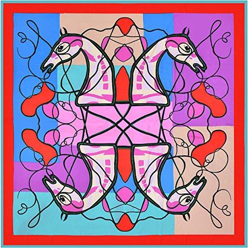 Ich eng Handtuch_Trend 130 cm Köper richtig eng Handtuch, See blaue Seite, vier Pferd Kopf 130 cm