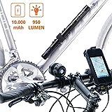ZNEX POWER + LICHT | Wasserdichte 10000mAh NOTSTRØM Power Bank mit Fahrradhalter + 950 Lumen LED Fahrrad Helmlampe | Powerbank liefert Licht für Lampe und Strom für iPhone, Galaxy, GPS uvm.