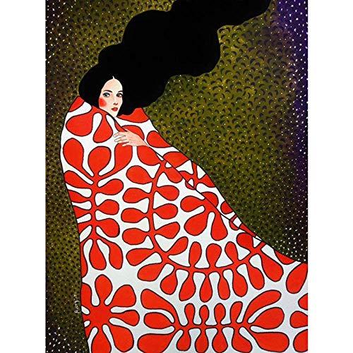 wwttoo Nordic Figuren Moderne Zeichen Bunte aquarell leinwand malerei plakatdruck Dekoration wandkunst Bilder für Wohnzimmer schlafzimmer-70X100 cm Kein Gestaltet 12